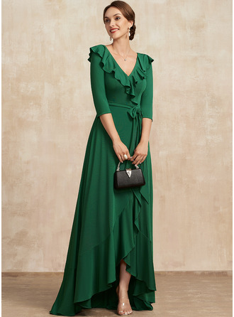 A-Line V-neck Asymmetrical Jersey Mother of the Bride Dress With Bow(s) Cascading Ruffles