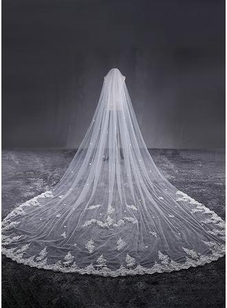 Een-rij Lace Stoffen Rand Kathedraal Bruids Sluiers met Van Toepassing