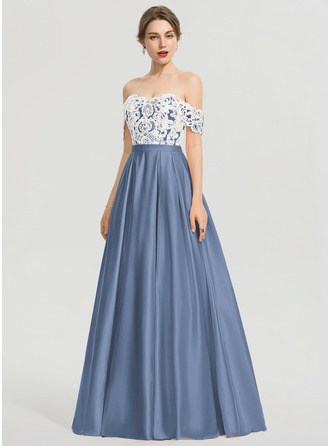 Ball-Gown/Princess Off-the-Shoulder Floor-Length Satin Prom Dresses With Sequins