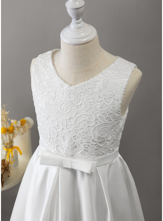 A-Line Floor-length Flower Girl Dress - Satin/Lace Sleeveless V-neck With Bow(s)