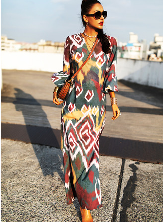 Print Shift 3/4 Sleeves Flare Sleeve Maxi Casual Vacation Dresses