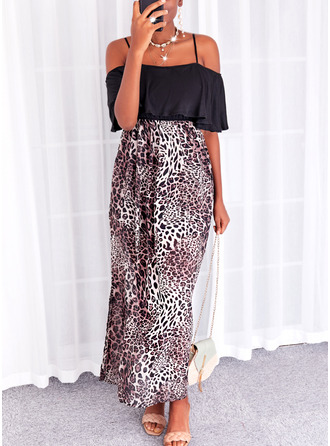 Leopard Print A-line 1/2 Sleeves Maxi Casual Vacation Skater Dresses