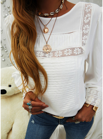 Lace Solid Round Neck Long Sleeves Casual Elegant
