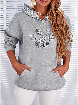 Print Hooded Long Sleeves Hoodie