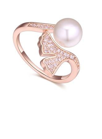 Elegante Cobre/Zircon com Zirconia cúbico Senhoras Anéis