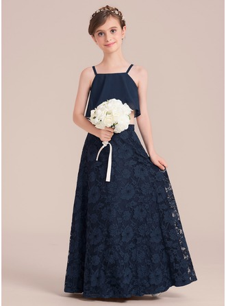 A-Line/Princess Square Neckline Floor-Length Lace Junior Bridesmaid Dress