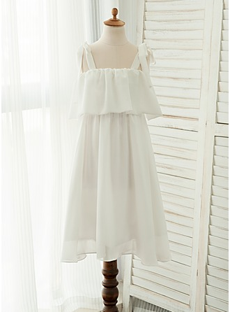 Forme Princesse Longueur mollet Robes à Fleurs pour Filles - Mousseline Sans manches Bretelles