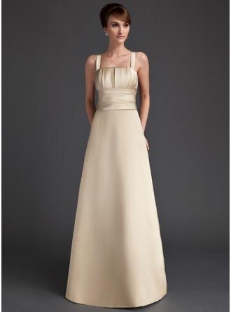 A-Line/Princess Square Neckline Floor-Length Satin Bridesmaid Dress With Ruffle
