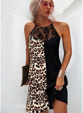 Leopard Lace Shift Sleeveless Mini Casual Dresses