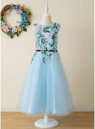Corte A Longuete Vestidos de Menina das Flores - Tule/Renda Sem magas Decote redondo com Apliques de Renda