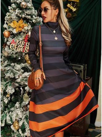 Color Block A-lijn-jurk Lange Mouwen Medium Casual schaatser ()