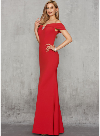 Trumpet/Mermaid Off-the-Shoulder Floor-Length Charmeuse Evening Dress With Beading