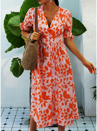 Print A-line 1/2 Sleeves Midi Casual Vacation Skater Dresses