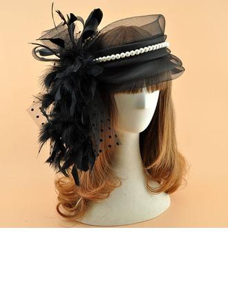 Sonar Naisten Vintage Organzanauha jossa Feather/Valetaskua helmi Koristeet/Kentucky Derbyn hatut