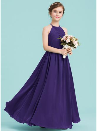 A-Line/Princess Scoop Neck Floor-Length Chiffon Junior Bridesmaid Dress With Ruffle