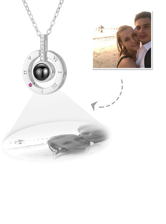 Custom Sterling Silver Circle Projection Photo Necklace With Cubic Zirconia - Mother's Day Gifts
