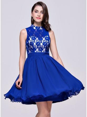 A-Line/Princess High Neck Short/Mini Chiffon Lace Homecoming Dress