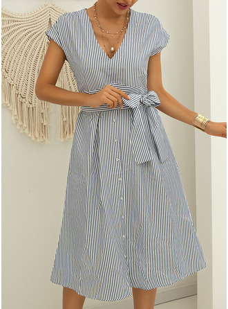 Striped A-line Short Sleeves Midi Casual Skater Dresses