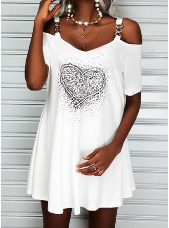 Print Heart Shift Short Sleeves Mini Casual Tunic Dresses
