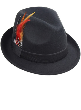 De los hombres Glamorosa/Estilo clásico/Llamativo Madera con Pluma Sombrero de fieltro/Sombrero de Panamá