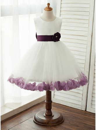 A-Line/Princess Knee-length Flower Girl Dress - Satin/Tulle Sleeveless Scoop Neck With Sash/Bow(s) ( Sashl color will be done in the same color as you pick for your dress)