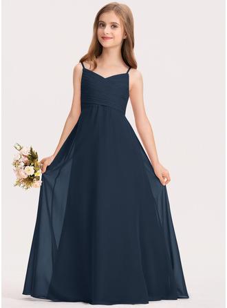 Aライン 恋人 マキシレングス シフォン ジュニアブライドメイドドレス とともに ラッフル