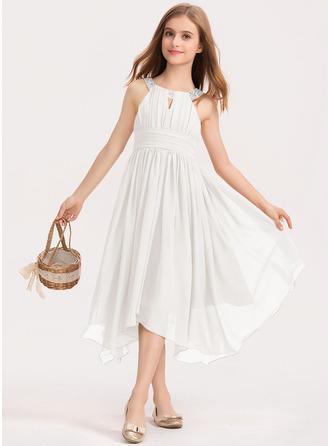 A-Linie U-Ausschnitt Wadenlang Chiffon Kleid für junge Brautjungfern mit Rüschen Perlstickerei Schleife(n)