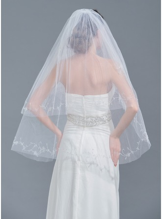 Two-tier Beaded Edge Fingertip Bridal Veils With Beading