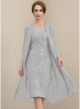 Etui-Linie Off-the-Schulter Knielang Spitze Kleid für die Brautmutter