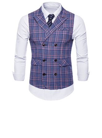 Plaid Polyester Coton Gilet Homme