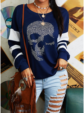 Sequins Striped Round Neck Long Sleeves Sweatshirt