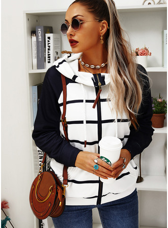 Color Block Striped Long Sleeves Hoodie (1001255474)