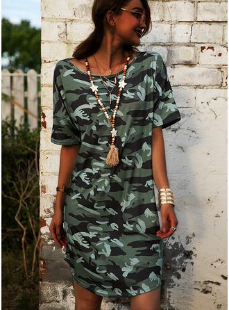 Print Shiftklänningar 1/2 ärmar Midi Fritids Semester Tunika Modeklänningar