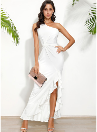 Solid One Shoulder Sleeveless Sheath Maxi Dresses