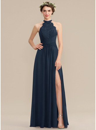 A-Line High Neck Floor-Length Chiffon Lace Prom Dresses With Ruffle Split Front