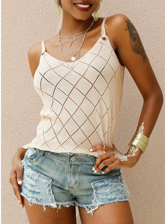 Solid Strap Sleeveless Casual Tank Tops
