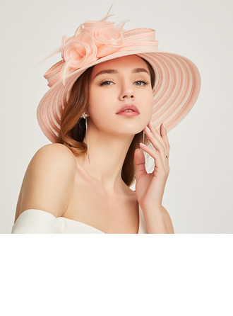 Dames Betoverend/Klassiek Papyrus met Feather/Bloem Strand / Zon Hoeden/Kentucky Derby Hats/Theepartij hoeden