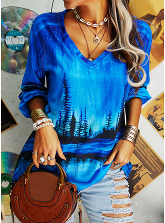Forest Print V-Neck Long Sleeves Casual T-shirt