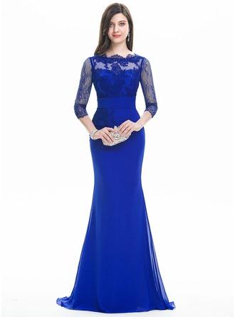 Trumpet/Mermaid Scoop Neck Sweep Train Chiffon Prom Dresses With Ruffle