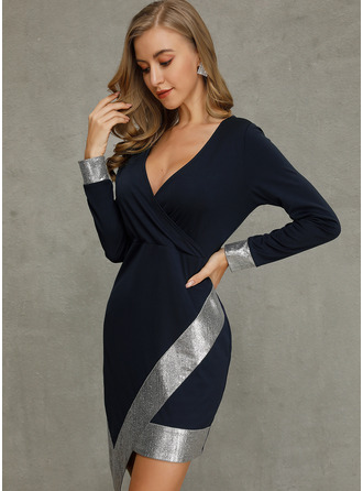 Above Knee V neck Polyester Long Sleeves Sequins/Solid Fashion Dresses