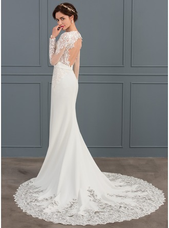 Trumpet/Mermaid V-neck Chapel Train Satin Wedding Dress With Beading
