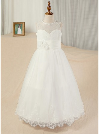 A-Line/Princess Floor-length Flower Girl Dress - Satin/Lace Sleeveless Scoop Neck
