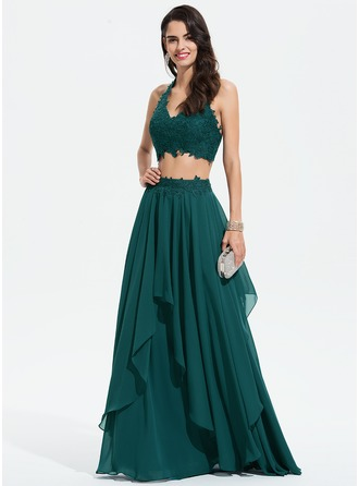 A-Line Halter Floor-Length Chiffon Prom Dresses With Lace