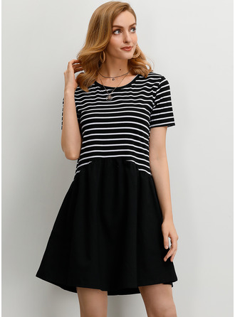 Striped Shift Short Sleeves Mini Casual Dresses