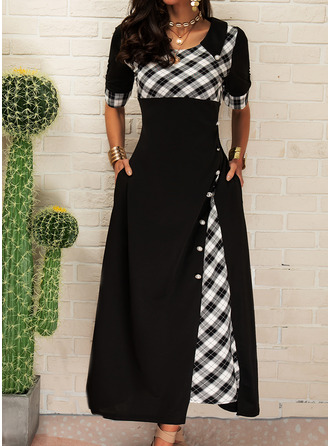 Pläd A-linjeklänning 1/2 ärmar Maxi Fritids skater Modeklänningar