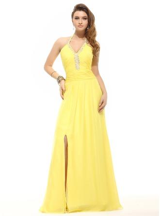 A-Line/Princess Halter Floor-Length Chiffon Holiday Dress With Ruffle Beading Split Front