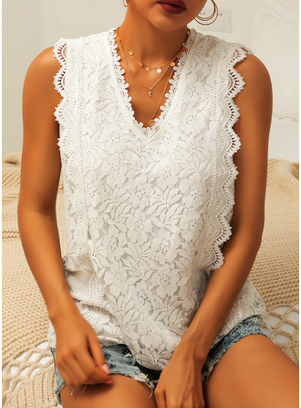 Lace Solid Sleeveless Polyester V Neck Tank Tops Blouses