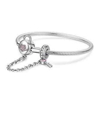 Geplatineerd Bangle Fijne ketting Bedelarmbanden Armbanden en manchetten met Hart - Valentijnsgeschenken Voor Haar