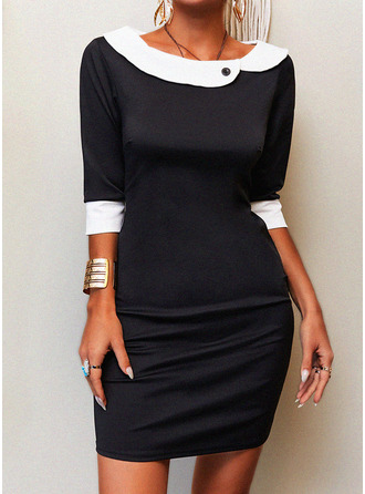 Color Block Bodycon 1/2 Sleeves Midi Elegant Pencil Dresses