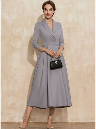 Simple Elegant Wedding Guest Dresses V-Neck 3/4 Sleeves Midi Dresses